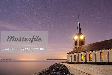 France, Marne. Lake Der. Church Champaubert night.