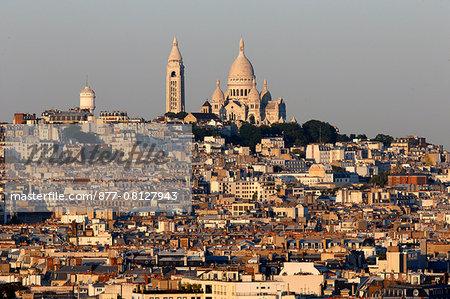 Paris city. Montmartre. The Basilica of the Sacred Heart of Paris. Paris. France.
