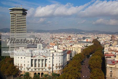 Spain, Catalonia, Barcelona. Colon building and Rambla.