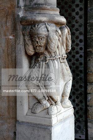 France, Aquitaine, Pyrenees Atlantiques, Oloron-sainte-Marie, Sainte Marie area, Sainte-Marie cathedral, Unesco world heritage as road to Santiago de Compostela, the portal, the chained atlas (or atlant)