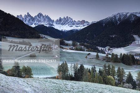 Frost sunrise at Santa Magdalena, Funes valley, Odle Dolomites, Bolzano province, South Tyrol region, Trentino Alto Adige, Italy, Europe
