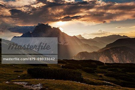 Croda Rossa d'Ampezzo from Piana Mount, Dolomites, Misurina, Belluno, Veneto, Italy.