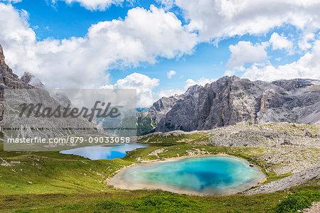 Summer view of Laghi dei Piani. Sesto Dolomites Trentino Alto Adige Italy Europe