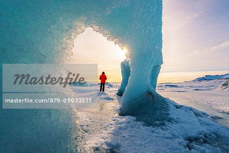 Fjallsarlon glacier lagoon frozen in winter, East Iceland, Iceland.