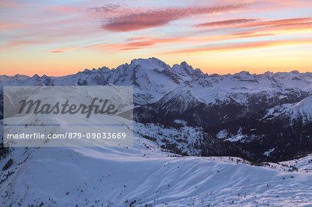 Europe, Italy, veneto, Belluno. Winter landscape from Nuvolau peak towards Marmolada and mount Pore in foreground, Dolomites
