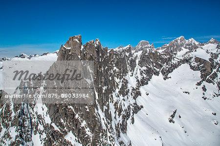 Aerial view of Cima del Cavalcorto in winter. Valmasino, Valtellina Lombardy, Italy Europe