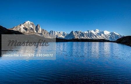 Mont Blanc range seen from Lac de Chesery. Haute Savoie. France