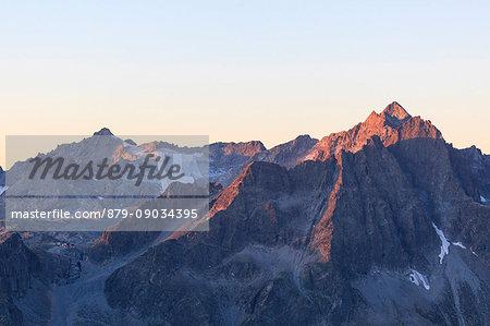 View of the Presena glacier and rocky peaks at dawn Valcamonica border Lombardy and Trentino Alto Adige Italy Europe
