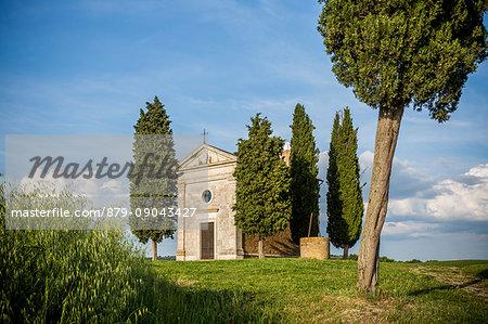 Madonna di Vitaleta chapel, San Quirico d'Orcia. Orcia Valley, Siena district, Tuscany, Italy.