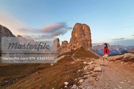 Dusk on Cinque Torri, Dolomites, Cortina d'Ampezzo, Belluno province, Veneto, Italy