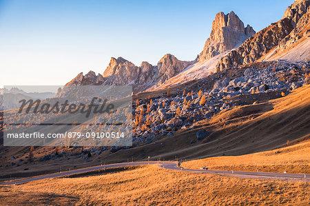 The road of Giau pass and mount Averau, Dolomites, Colle Santa Lucia, Belluno, Veneto, Italy