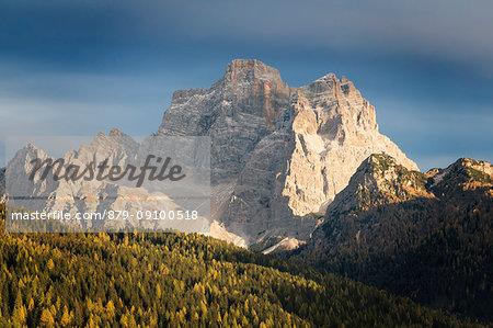 The massif of Pelmo in autumn as seen from Selva di Cadore, Belluno, Veneto, Italy