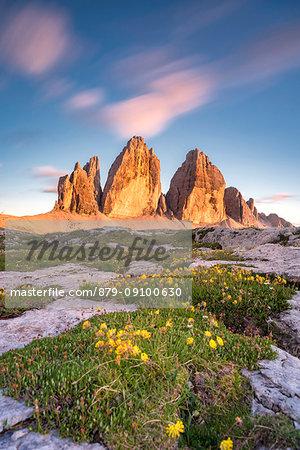 Sesto / Sexten, province of Bolzano, Dolomites, South Tyrol, Italy. Sunset at the Three Peaks of Lavaredo
