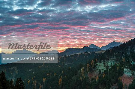 Passo delle Erbe/Wuerzjoch, Dolomites, province of Bolzano, South Tyrol, Italy. Sunrise at Passo delle Erbe