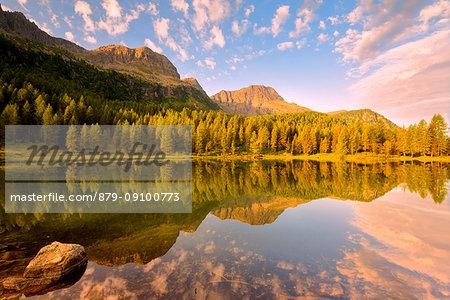 Europe, Italy, Trentino Alto Adige, Moena, Dolomites, the alpine lake of San Pellegrino.