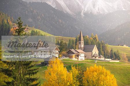 The village of Santa Magdalena. Funes Valley, Bolzano Province, Trentino Alto Adige, Italy