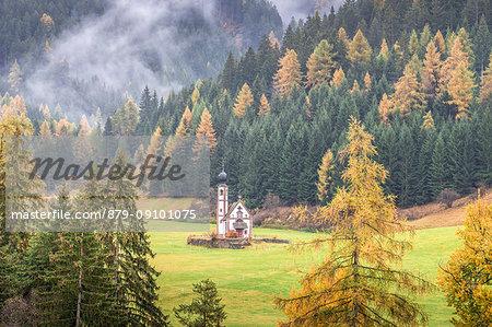 San Giovanni Ranui Church, San Pietro Village, Funes Valley, Bolzano Province, Trentino Alto Adige, Italy