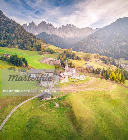 Aerial View of Santa Magdalena village, Funes Valley, Bolzano Province, Trentino Alto Adige, Italy