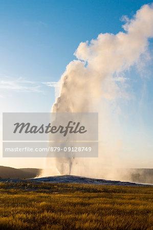 Old Faithful geyser eruption, Upper Geyser Basin, Yellowstone National Park, Teton County, Wyoming; USA