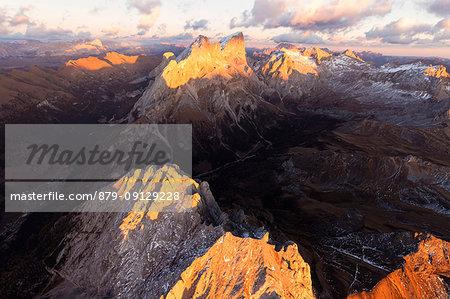 Aerial view of Colac, Gran Vernel, Marmolada and Val Contrin, Dolomites, Trentino Alto Adige, Italy