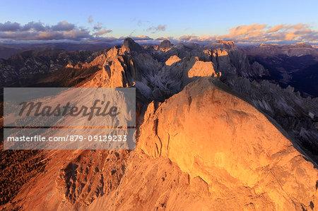 Aerial view of Roda Di Vael at sunset, Catinaccio Group (Rosengarten), Dolomites, South Tyrol, Italy