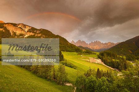 Rainbow after the storm, Santa Magdalena, Funes valley, South Tyrol, Trentino Alto Adige, Bolzano province, Italy, Europe