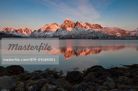 sunset at Vatterfjorden, municipality of Vagan, Lofoten Island, Norway, Europe