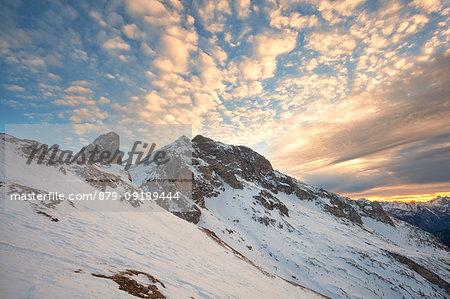 Clouds on Cernera group from Col Piombin, Dolomites, Giau Pass, San Vito di Cadore, Belluno province, Veneto, Italy