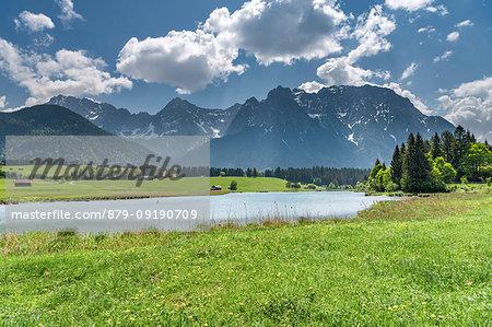 Mittenwald, district of Garmisch-Partenkirchen, Upper Bavaria, Germany, Europe. View over the Schmalen Lake to the mountains of the Karwendel