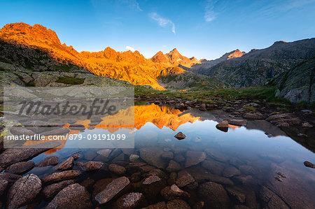 Sunrise on the tops of the Presanella, Adamello Brenta natural park, Trentino Alto Adige, Italy.