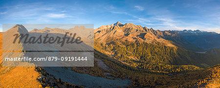 Aerial panoramic of Monte Disgrazia and Corni Bruciati from Sasso Bianco in autumn, Valmalenco, Valtellina, Lombardy, Italy