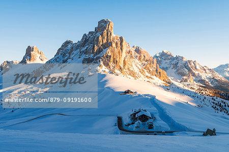 Giau pass in winter at sunrise Europe, Italy, Veneto, Belluno district, Giau pass