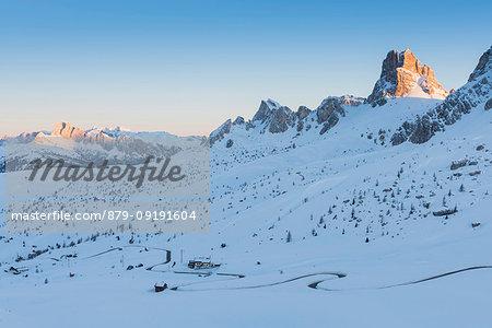 Giau pass at sunrise Europe, Italy, Veneto, Belluno district, Giau pass