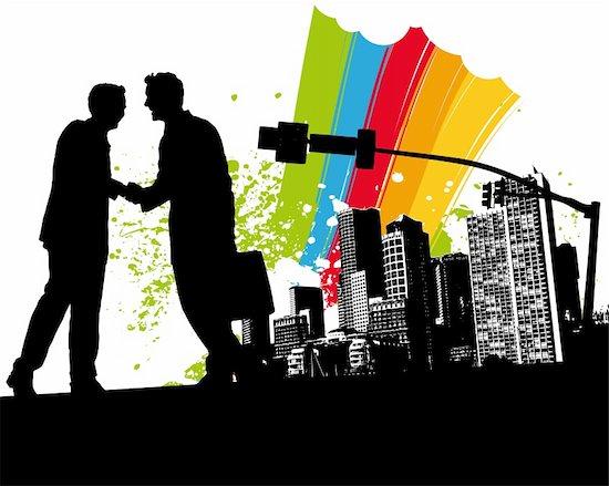 Rainbow Business Handshake Vector Illustration Stock Photo - Royalty-Free, Artist: sengerg, Image code: 400-04001291