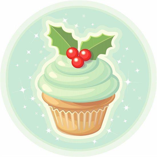 A yummy blue vanilla cupcake with holly on top. Stock Photo - Royalty-Free, Artist: twentyfourworks, Image code: 400-04077061