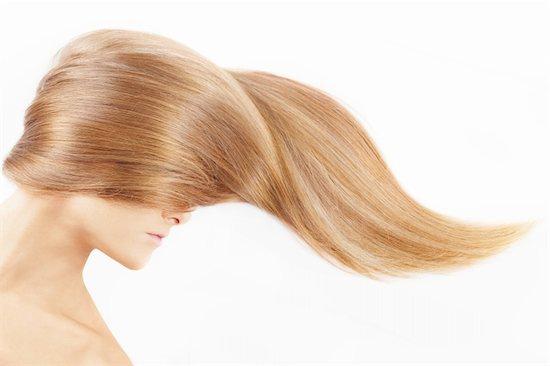 The female head closed by a fair hair, isolated Stock Photo - Royalty-Free, Artist: Deklofenak, Image code: 400-04151698