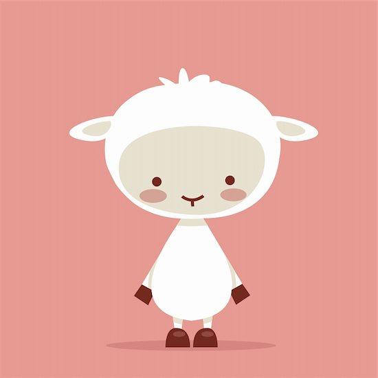 Cute lamb character, vector illustration Stock Photo - Royalty-Free, Artist: kariiika, Image code: 400-04350555