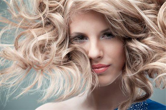 portrait curly blonde wind hair Stock Photo - Royalty-Free, Artist: shotsstudio, Image code: 400-04369667