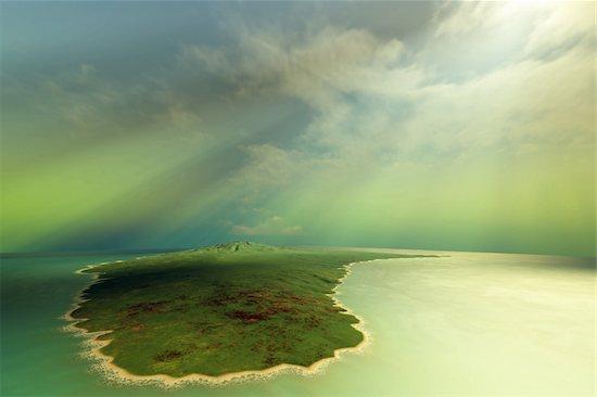 Sun rays shine down on this tropical island. Stock Photo - Royalty-Free, Artist: Catmando, Image code: 400-04600574