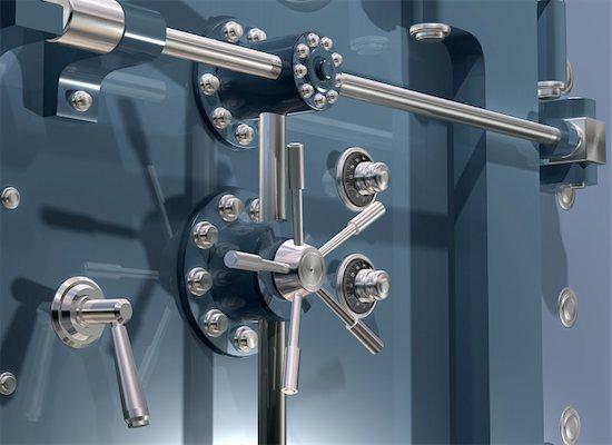 Illustration of a secure bank vault up close Stock Photo - Royalty-Free, Artist: paulfleet, Image code: 400-05089317