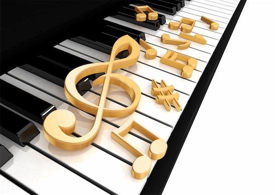 treble clef is on the piano keys Stock Photo - Royalty-Free, Artist: Iraidka, Image code: 400-05300688