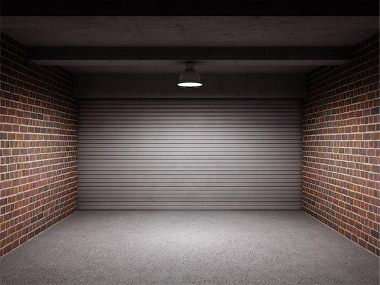 Empty garage with metallic roll up door Stock Photo - Royalty-Free, Artist: Enki, Image code: 400-05373832