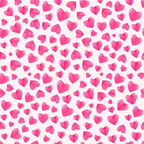Seamless pattern with shiny hearts. Vector valentine illustration. Stock Photo - Royalty-Free, Artist: nikifiva, Image code: 400-05885895