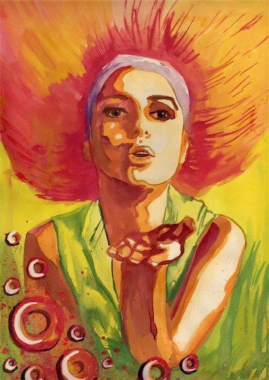 watercolor, color, beautiful and sexy woman kiss uploader Stock Photo - Royalty-Free, Artist: bruniewska, Image code: 400-05893793