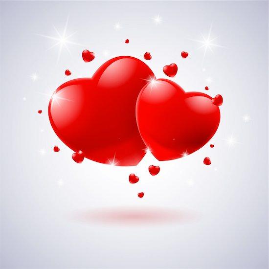 Red hearts Card. Illustration on white background for design Stock Photo - Royalty-Free, Artist: dvarg, Image code: 400-05920851