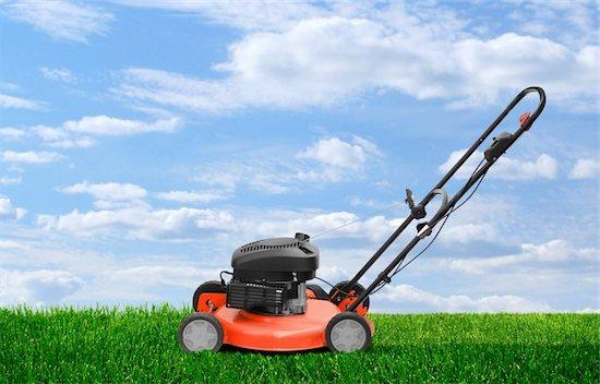 Lawn mower motor clipper working on green summer grass Stock Photo - Royalty-Free, Artist: Anterovium, Image code: 400-06392793
