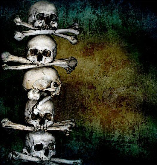 Grunge background with human skulls and bones Stock Photo - Royalty-Free, Artist: frenta, Image code: 400-06561497