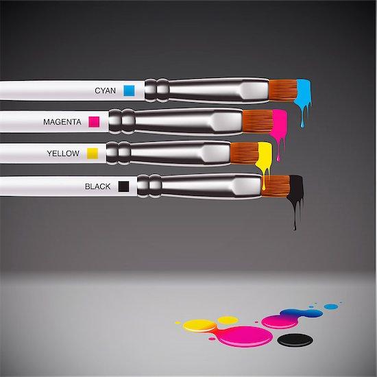CMYK brushes on grey background, vector EPS10 illustration. Stock Photo - Royalty-Free, Artist: ikopylov, Image code: 400-06640695