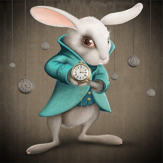 White Elegances rabbit indicates the clock - illustration Stock Photo - Royalty-Free, Artist: jordygraph, Image code: 400-06760453