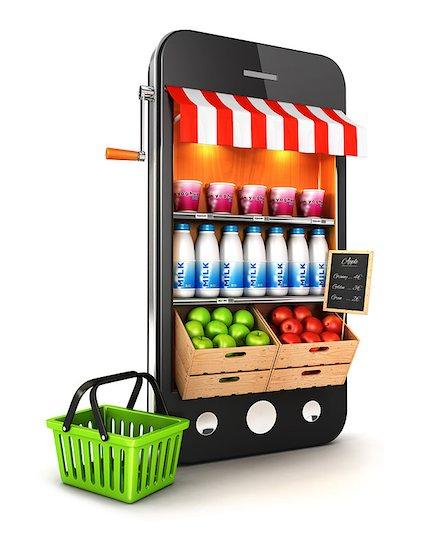 3d supermarket smartphone, isolated white background, 3d image Stock Photo - Royalty-Free, Artist: 3dmask, Image code: 400-06875427